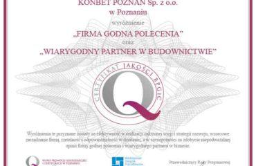 Wiarygodny Partner w Budownictwie i w Biznesie KONBET Poznań