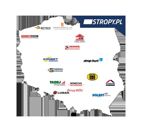 Mapa producentów stropów grupy STROPY.pl